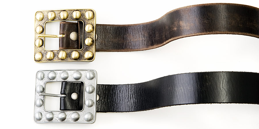 Product Photography, leather belts with brass buckles